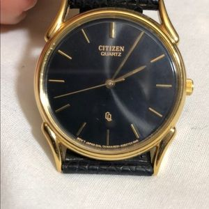 Men's Leather Band Gold Tone Watch